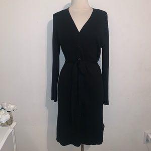 Black fitted ribbed belted dress xl Olive + Oak